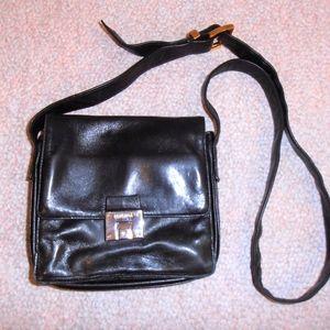 Perlina Black Leather Crossbody Organizer Flap Bag
